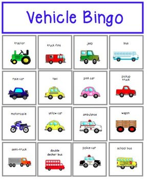Vehicle Bingo Card